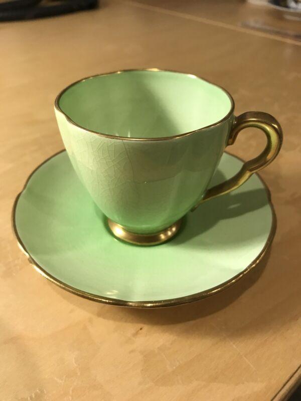 Vintage Rare Carlton Ware Apple Green Demitasse Cup Saucer set