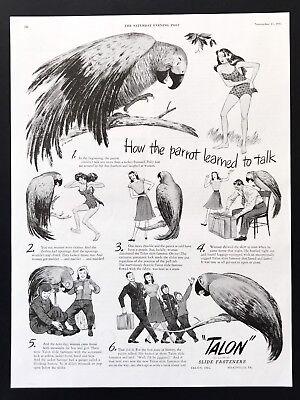 1945 Vintage Print Ad TALON Zipper Fasteners Parrot Cave Man Clothes Flying Open