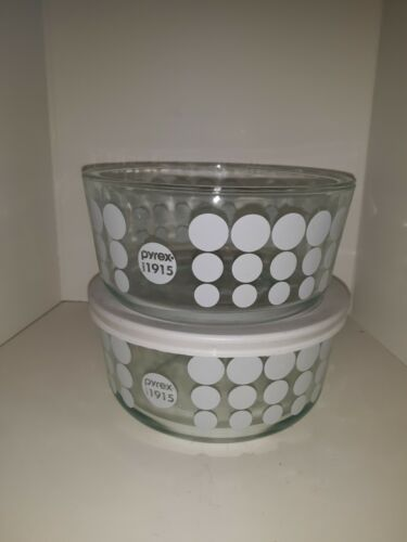 Vintage Pyrex Clear Glass Bowl With White Polka Dots 2 Bowls 1 Lid Since 1915  - $15.00