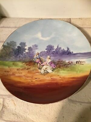 Vintage Antique Pretty Decorative Large Plate Charger Flute Playing Couple
