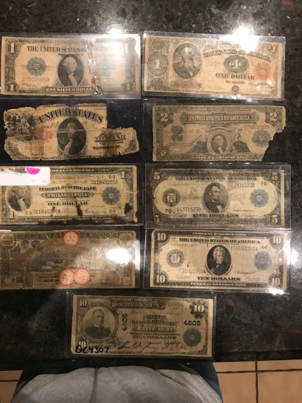 9 diifferent large size Bills types 1914 1917 1902 1923 Silver Certificate Lot