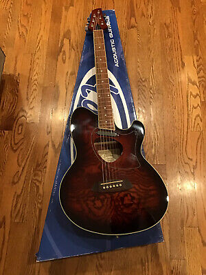 IBANEZ TALMAN TCM50-VBS Acoustic-Electric Guitar Figured Ash Exotic Wood
