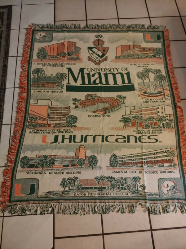 University Of Miami Hurricanes Blanket Throw 64x51 UNIQUE