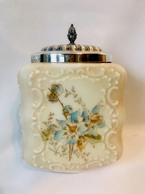 Antique Wavecrest Square Glass Biscuit Cracker Jar Barrel w Lid Floral