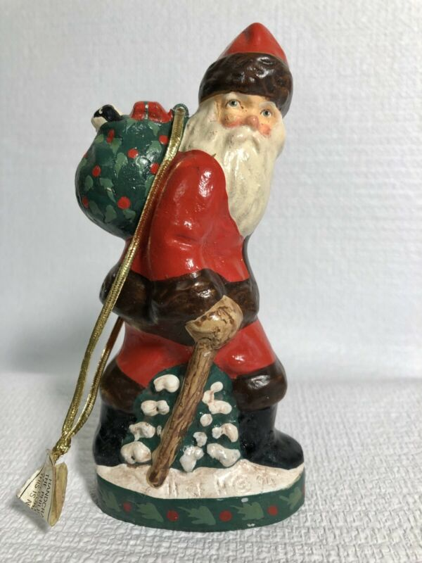 HOUSE OF HATTEN 1994 Christmas Ornament Santa Claus Hiking w/ Puppy in Toy Sack