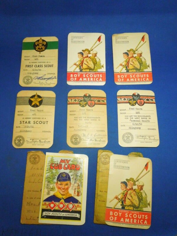 Vintage 1940s - 1950s Lot of 8 Boy Scouts of America Registration Club Cards