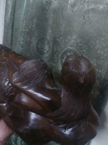 Folk Art Primitive Sculpture Mermaid Baby Vintage Wood Carving Surreal Art WOW - $249.00