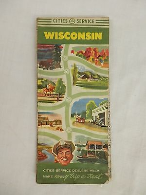 Cities Service Gasoline Road Map WISCONSIN 1950 great graphics and color