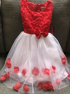 Cute Girl Tulle Dress with Red and White Flower Size 4 Formal Party - Flower Girl Dresses With Red