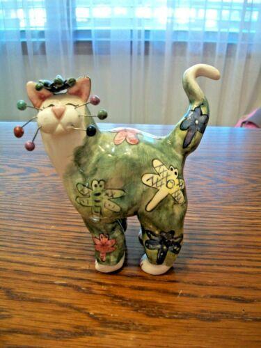 LACOMBE ANNACO GREEN 2001 DRAGONFLY CERAMIC HAPPY KITTY CAT FIGURINE~SIGNED~