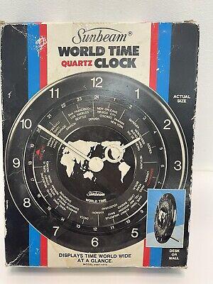 Vintage Sunbeam World Time Quartz Clock NOS Desk Or Wall Model # 881-1419