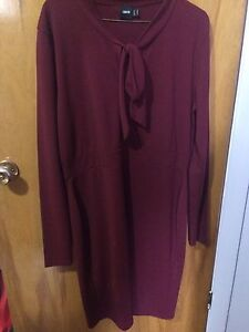 TAILLE PLUS SIZE RED burgundy size 14 stretch dress robe