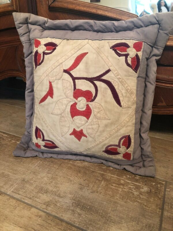 Gorgeous Lavender Antique Pillow Vintage Made From Antique Quilt