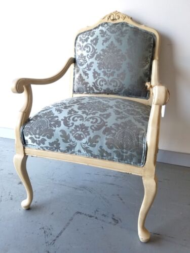 French Country Armchair Ornate Shabby Chic Reupholstered Accent Arm Chair Pretty