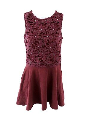 SUPERDRY Womens Vest Top Dress XS Burgundy Red Cotton