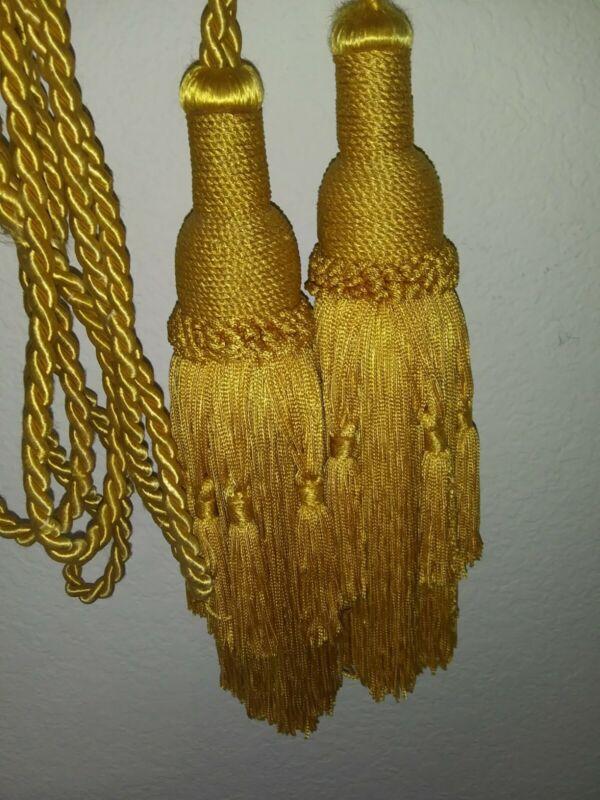 Vintage Silk Tie Back Gold Rope Horsetail Luxury Curtain Drapery Tie Backs Set 2