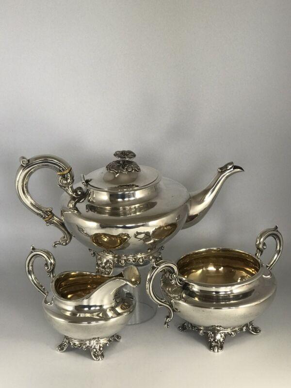 WILLIAM IV solid silver TEA SERVICE - Benjamin Stephens - London 1836 - 1397g