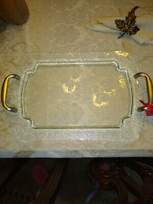 Glass platter, rectangle, Hallmark, silver handles, nwt, 16