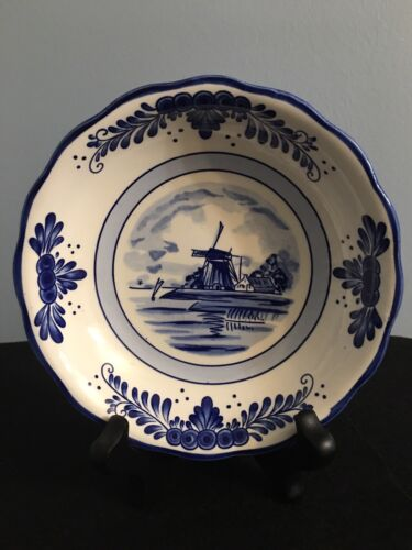 Delft Blue Dish Bowl Shaped Porcelain Hand Painted Windmill Designs - $6.60