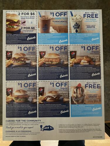 Culver s Coupons - $2.01