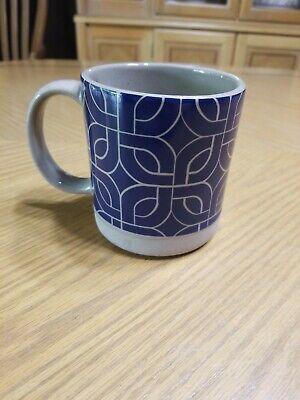 CRACKER BARREL Stoneware  Mug Cup Blue Geometric Design GUC Blue Barrel Mug