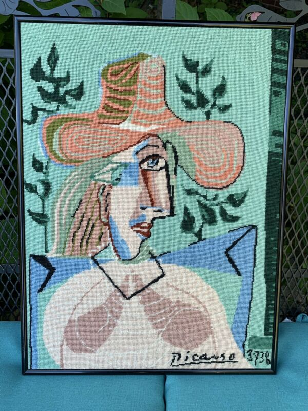 Picasso Abstract Needlepoint Framed 20 X 15