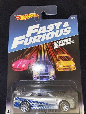 HOT WHEELS FAST AND FURIOUS NISSAN SKYLINE GT-R (R34) (SILVER) VHTF
