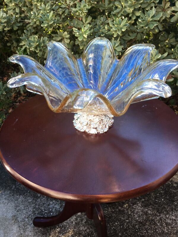 Murano Art Glass Centerpiece With Silver Base