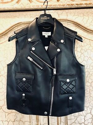 Women's Coach Black Leather Quilted Leather Zip Front Biker Moto Vest, NWT's, L