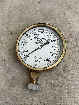 Vintage Antique Brass Water Pressure Gauge Hodgman Marsh Instrument Co. 3.75