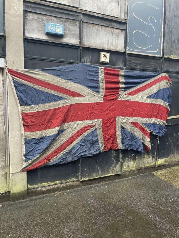 Huge Old Panel Stitched British Vintage Union Jack Flag - 11ft