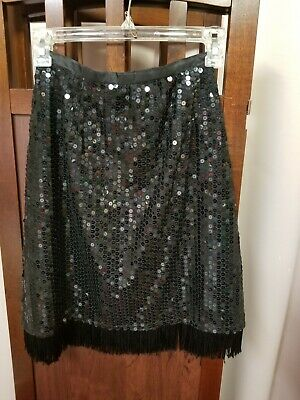 Costumes With Black Skirt (Ladies black sequin skirt with fringe rock star costume 23