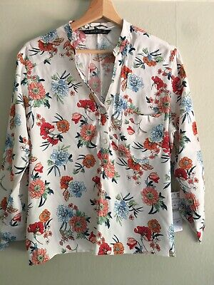 ZARA TIE SLEEVE FLORAL BLOUSE NWT SIZE M