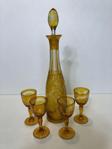 Vintage Moser Bohemian Cut Glass Amber Liquor Decanter w/4 Goblets