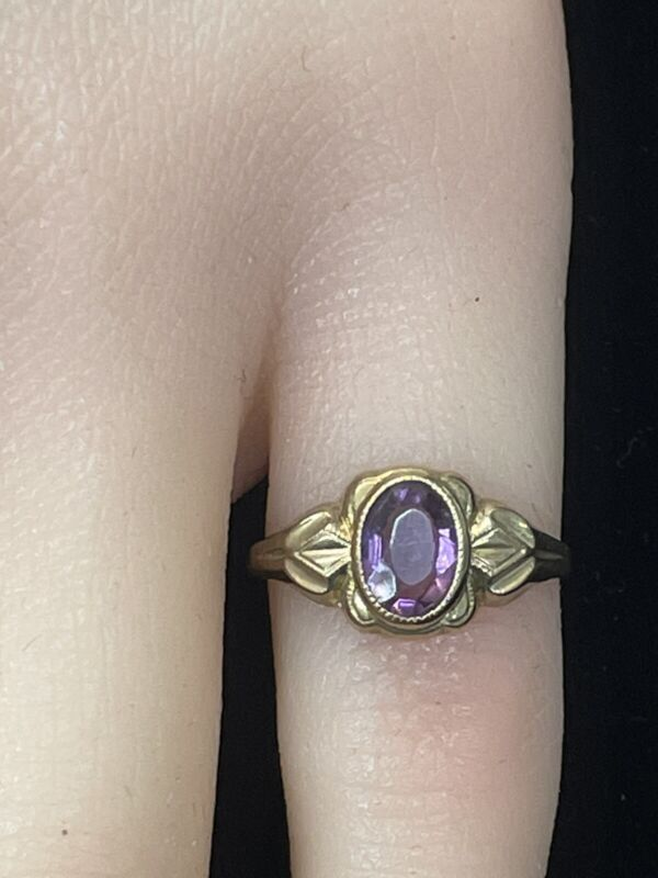 Antique 10K Gold Amethyst Ring made by BDA in RI. Offered by AITUZZI JEWELRY