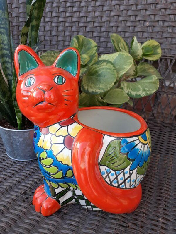 "Mexican Yard Art Talavera Cat Planter Colorful Handpainted Ceramic 10.5"""