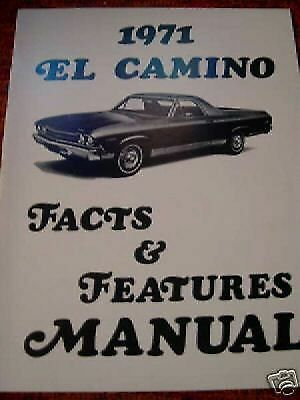 1971 Chevrolet El Camino Feature Spec Manual