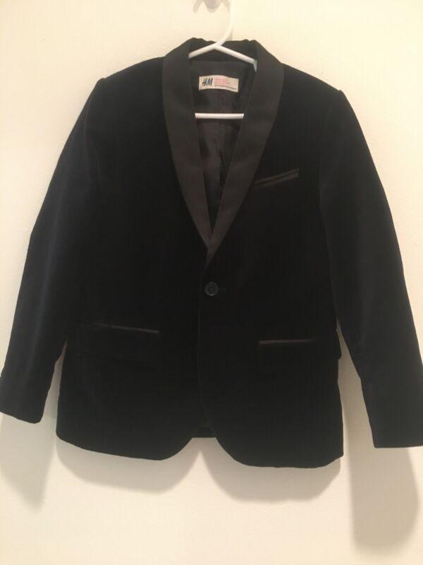 H&M Blazer Size 6-7 Velvet Blue Long Sleeve Boy