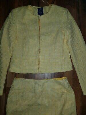 Weißen Rock Anzug (Kostüm Set Jacke Rock Blazer Anzug Gr S 36 Gelb weiß kariert)