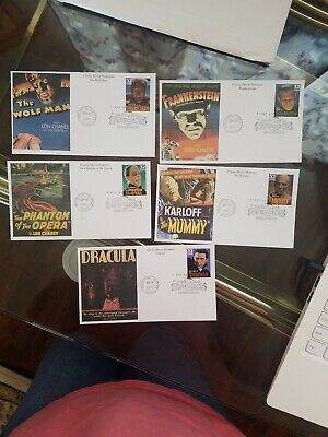 Classic Movie Monsters First Day Cover Postage Stamps - Lot of 5