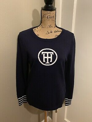 TOMMY HILFIGER Women's Navy Blue White Nautical Style Pullover Sweater M Medium