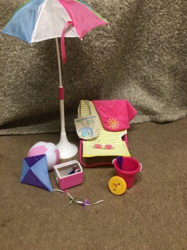 CUTE Doll Beach Chair Set W/ Umbrella, Cooler, Kite, Ball, Bucket For 18 Doll - $17.00