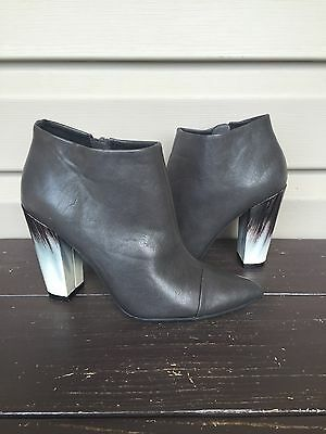 TILDON 'FLAWLESS' ANKLE BOOTIE BOOT CAP TOE OMBRE HEEL GREY LEATHER 6 NEW $119