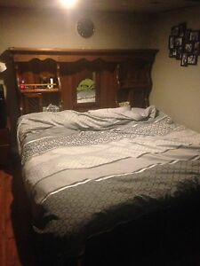 King size bed frame and bedding
