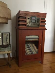 Crosley turntable unit with record stand