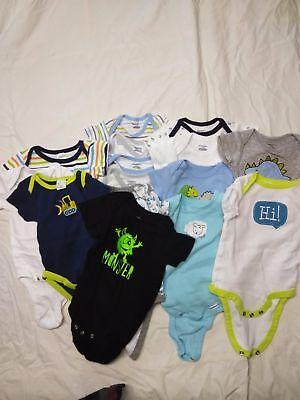 Infant Boys Size 0-3 months, **15** Short Sleeve Onsies, Snap Bottom, Baby Lot4](Monster Onsie)