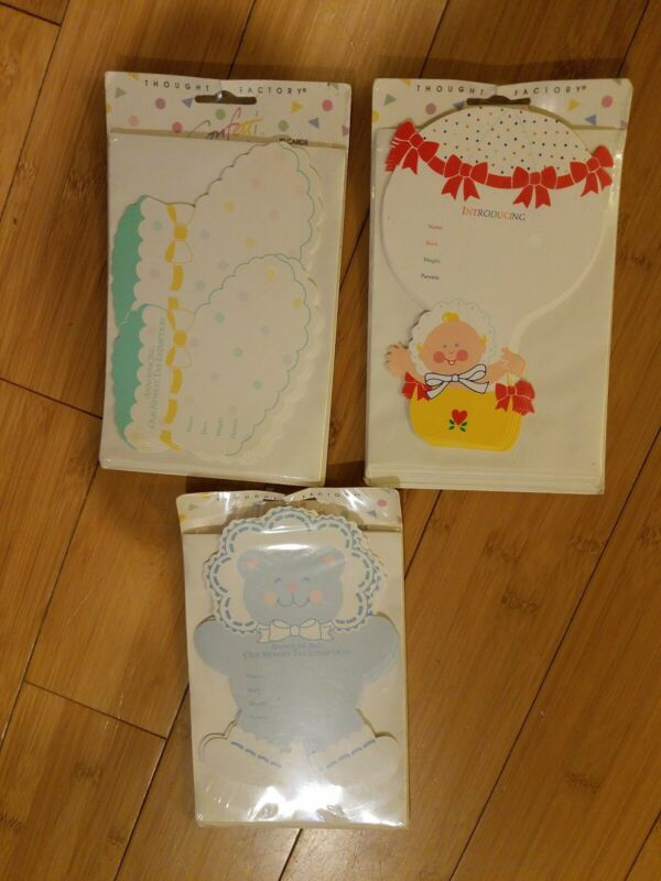 Lot of 3 Baby Birth Announcements (Thought Factory)