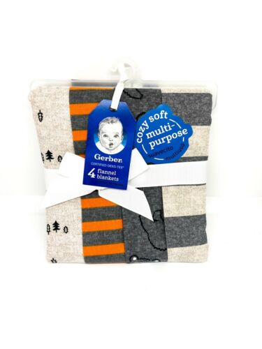 Gerber Baby Boys' 4pk Bear Flannel Receiving Blankets - Gray