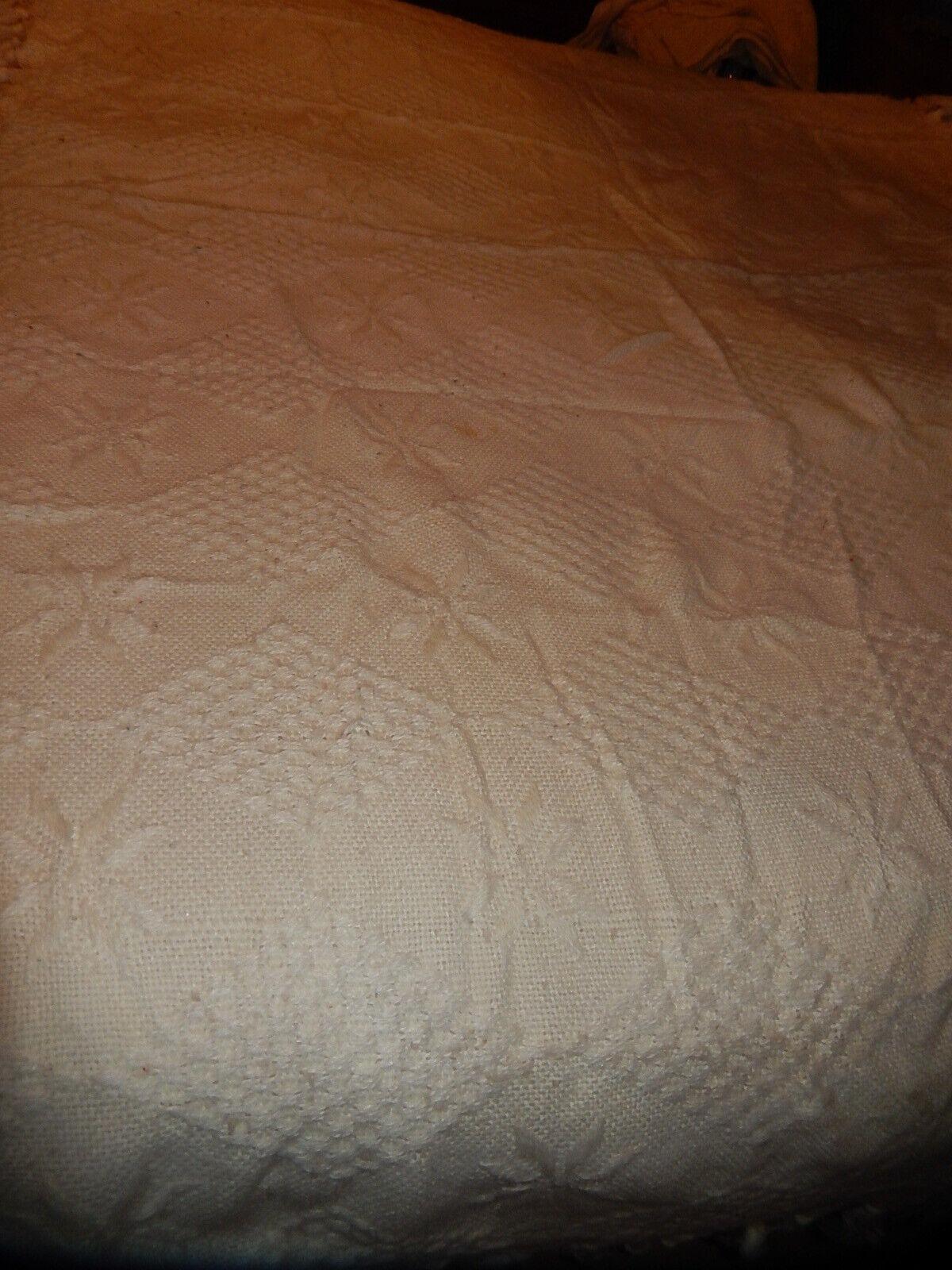 Ancien couvre lit dessus canapÉ laine blanc casse franges dÉcoration vintage