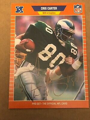 Cris Carter Eagles Ohio State Autograph 1989 NFL Pro Set #314 Signed Card -